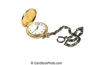 ouro, relógio fob, isolado, branco