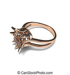 ouro, rosa, fazendo, fundo, anel, branca, 3d