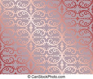 ouro, rosa, papel parede, seamless, foliage, floral