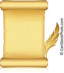 ouro, scroll, e, pena