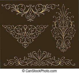 ouro, scroll, ornamentos