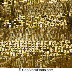 ouro, sequin, fundo