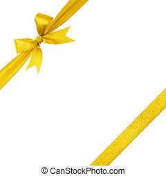 ouro, simples, amarrada, arco, composição, fita