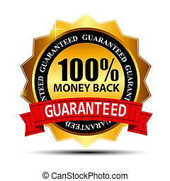 ouro, sinal, dinheiro, costas, etiqueta, vetorial, garantia