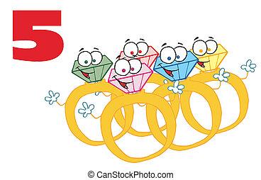 ouro, sobre, anéis, numere cinco, vermelho