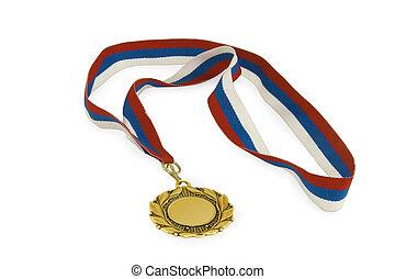 ouro, sobre, isolado, fundo, branca, medalha, fita