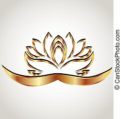 ouro, stylized, flor lotus, logotipo