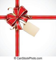 ouro, tag presente, arco, vetorial, em branco, fitas, vermelho