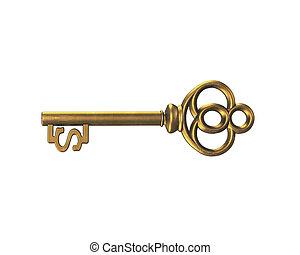 ouro, tesouro, sinal dólar, fazendo, tecla, forma, 3d
