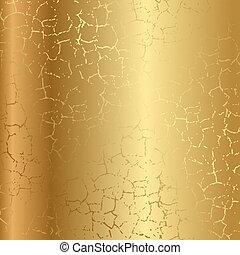 ouro, textura, com, rachas
