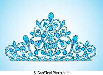 ouro, tiara, mulheres, pedras, diadema, ilustração, precioso
