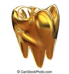 ouro, tooth., ilustração, 3d