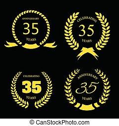 ouro, trinta, laurel, aniversário, jogo, anos, cinco, grinalda