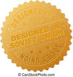 ouro, união, selo, projetado, medalhão, soviético