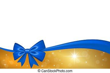 ouro, valentine, decoração, invitation., desenho, fita, azul, isolado, experiência., estrelas, branca, feriado, natal, saudação, ilustração, celebração aniversário, dia, cartão, arco presente, presente, vetorial