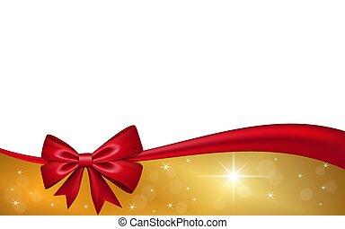 ouro, valentine, decoração, invitation., desenho, fita, isolado, experiência., estrelas, branca, feriado, natal, vermelho, saudação, ilustração, celebração aniversário, dia, cartão, arco presente, presente, vetorial