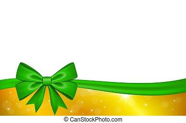 ouro, valentine, decoração, invitation., desenho, fita, isolado, experiência., estrelas, branca, feriado, natal, saudação, ilustração, celebração aniversário, dia, cartão, arco presente, presente, vetorial, verde
