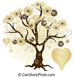 ouro, valentine, decorativo, árvore