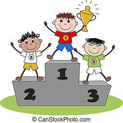 ouro, vencedor, prata, bronze