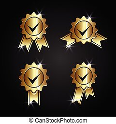 ouro, vetorial, aceitar, certificado, aprovado