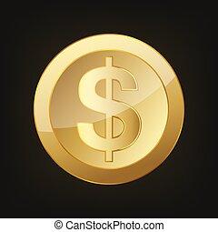 ouro, vetorial, dólar, coin., ilustração