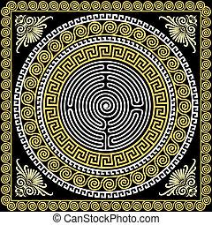 ouro, vindima, ornamento, tradicional, grego, vetorial, (...