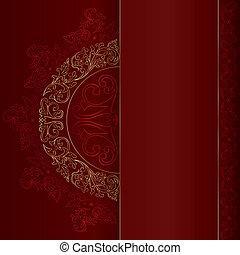 ouro, vindima, padrões florais, ligado, experiência vermelha