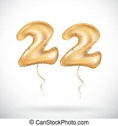 ouro, vivo, anos, convite, desenho, seu, 22, &, vinte, dois, fundo, partido, balões, 3d, coloridos, ilustração, aniversário, confetti., original, celebração, brilhante, cartão, vetorial