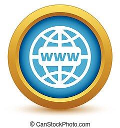 ouro, www, mundo, ícone