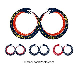 Ouroboros Snake in a shape of infinity symbol, endless cycle...