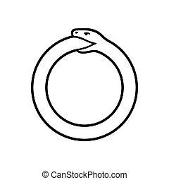 Ouroboros snake symbol - Ouroboros symbol, snake eating its ...