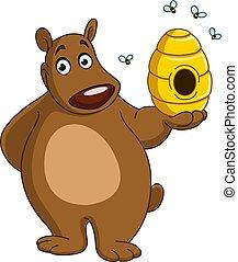 ours, à, ruche