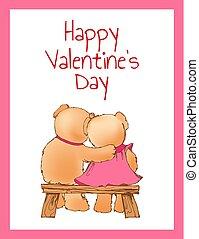 ours, affiche, valentines, deux, étreindre, jour, heureux