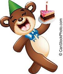 ours, anniversaire, tenue, gâteau, dessin animé, heureux