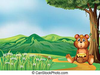 ours, au-dessus, collines
