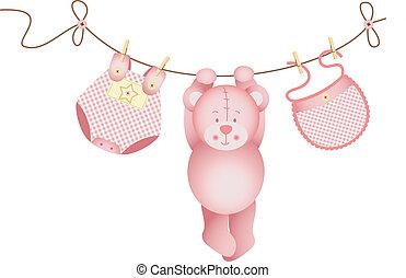 ours, bébé, teddy, girl