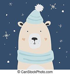 ours blanc, neige, vecteur, apprécier, noël carte