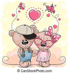 ours, cœurs, deux, fond