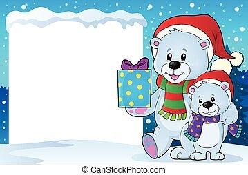 ours, cadre, noël, neigeux