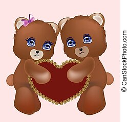 ours, couple, aimer, teddy