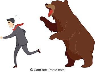 ours, course, marché, illustration, homme