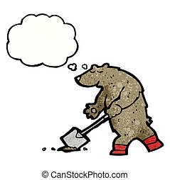 ours, dessin animé, bêche, creuser