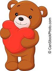 ours, entendre, tenue, dessin animé, rouges, heureux