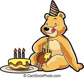 ours, fête, anniversaire, déguisement, utilisation