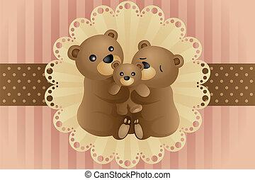 ours, famille, étreindre