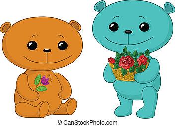 ours, fleurs, teddy