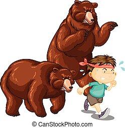 ours, garçon, peu, chasser, deux