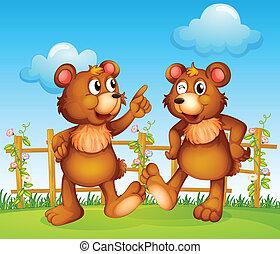 ours, heureux, deux, faces