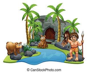 ours, homme cavernes, rivière, deux