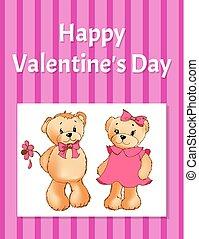 ours nounours, affiche, valentines, deux jours, heureux